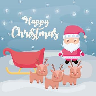 Feliz navidad con santa claus y trineo en paisaje de invierno