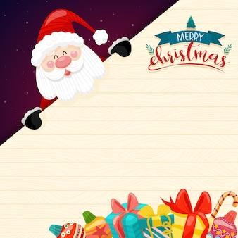 Feliz navidad con santa claus y varias cajas de regalo en la nieve con casa y luna como.