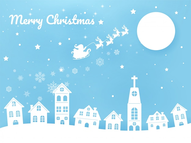 Feliz navidad santa está montando un rickshaw en el cielo de la ciudad