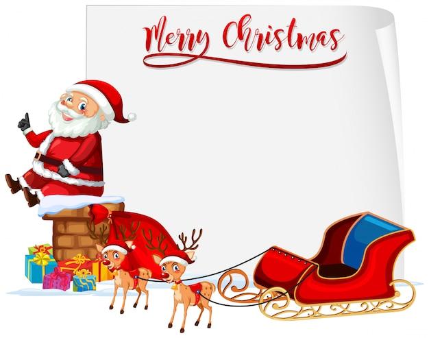 Feliz navidad santa y trineo concepto