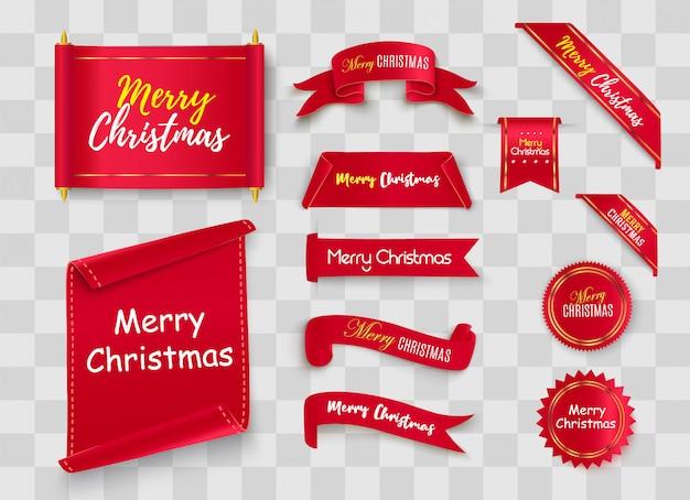Feliz navidad scroll rojo. banderas de papel realistas banner con una felicitación.