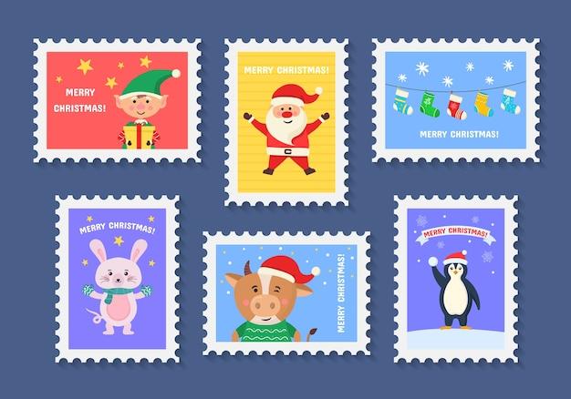 Feliz navidad sello lindo con símbolos de vacaciones y elementos de decoración. colección de sellos postales con símbolos de decoración navideña.