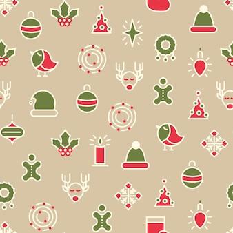 Feliz navidad símbolos de patrones sin fisuras con diferentes tipos de regalos y juguetes de acebo con línea colorida