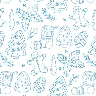 Feliz navidad símbolos tradicionales en estilo de patrón de doodle