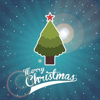 Feliz navidad sobre ilustración de vector de fondo de cielo nocturno