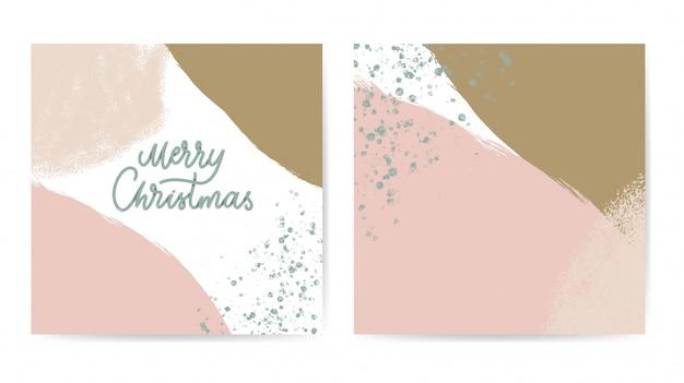 Feliz navidad tarjeta abstracta color pastel