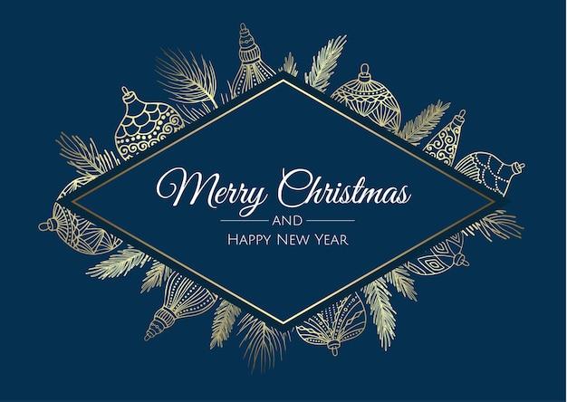 Feliz navidad tarjeta abstracta con marco. venta de navidad, banner web de vacaciones.