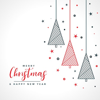 Feliz navidad tarjeta blanca con árbol rojo y negro