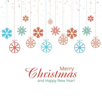 Feliz navidad tarjeta blanca con diseño decorativo de copos de nieve colgantes