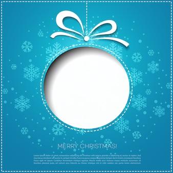 Feliz navidad tarjeta de felicitación con adorno navideño.