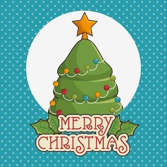 Feliz navidad tarjeta de felicitación con árbol