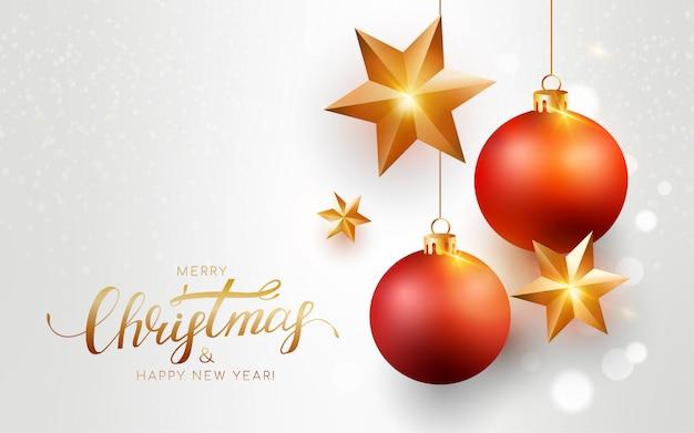 Feliz navidad tarjeta de felicitación blanca con bolas rojas, estrella de oro, bokeh.