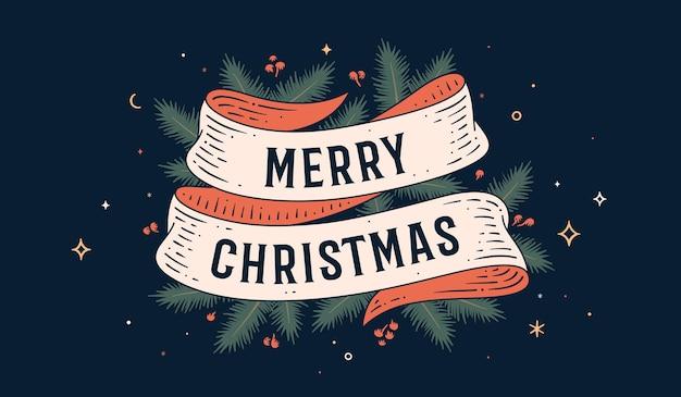 Feliz navidad. tarjeta de felicitación con cinta y texto feliz navidad.