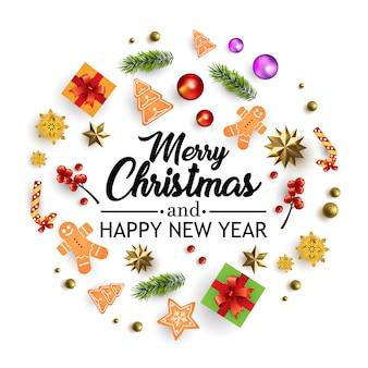 Feliz navidad tarjeta de felicitación con composición y decoración.