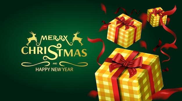 Feliz navidad tarjeta de felicitación e invitaciones de fiesta de fondo de lujo
