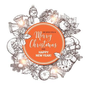 Feliz navidad tarjeta de felicitación con elementos festivos y festivos dibujados a mano en el fondo.