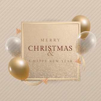 Feliz navidad y una tarjeta de felicitación de feliz año nuevo con globos dorados