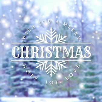¡feliz navidad! tarjeta de felicitación con invierno borrosa