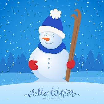 Feliz navidad. tarjeta de felicitación de navidad con muñeco de nieve con esquí sobre fondo de bosque nevado. hola invierno