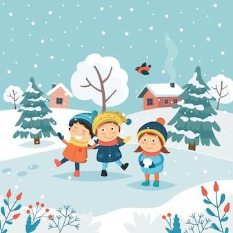 Feliz navidad tarjeta de felicitación con niños jugando con nieve.