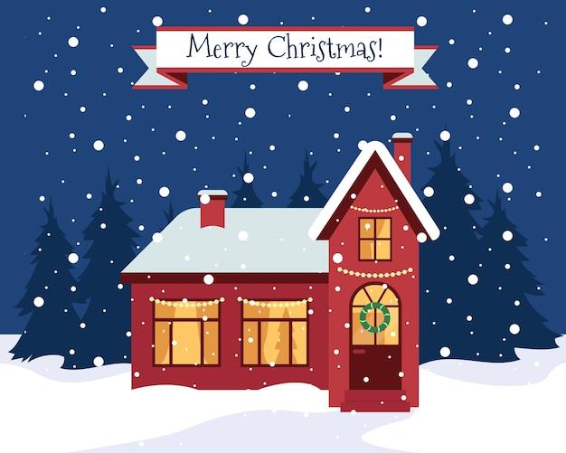 Feliz navidad tarjeta de felicitación o banner. naturaleza de invierno y casa en el bosque. hogar con adornos navideños. ilustración.
