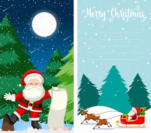 Feliz navidad tarjeta de felicitación o carta a santa con plantilla de texto