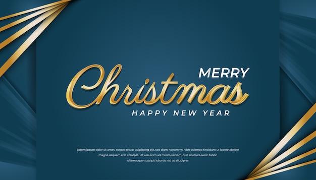 Feliz navidad tarjeta de felicitación o invitación en concepto azul y oro sobre papel
