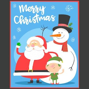 Feliz navidad tarjeta de felicitación con santa claus, muñeco de nieve y duende