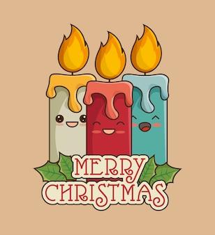 Feliz navidad tarjeta de felicitación con velas