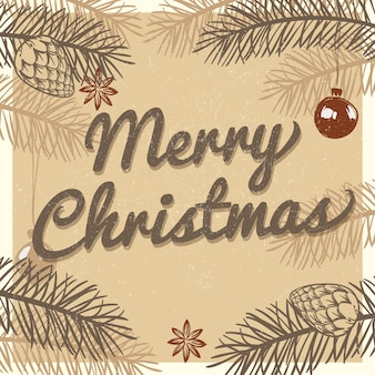 Feliz navidad tarjeta de felicitación vintage. fondo de vacaciones de invierno con ramas de abeto dibujado a mano y pinos ilustración