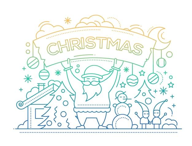 Feliz navidad - tarjeta de línea