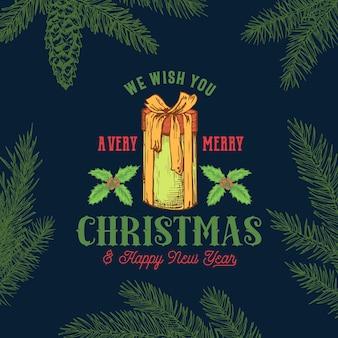 Feliz navidad tarjeta retro