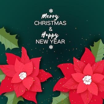 Feliz navidad tarjeta de saludos de flores de poinsettia rojo. hojas de acebo. vacaciones de invierno. feliz año nuevo. invitación de fiesta de navidad o banner. espacio vacio. vector