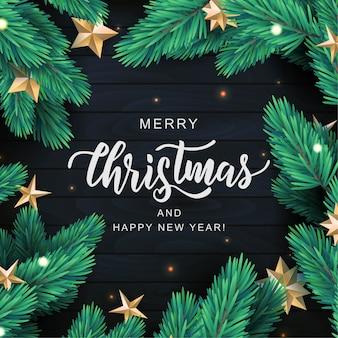Feliz navidad tarjeta de texto de letras a mano. rama de pino realista con estrellas doradas sobre fondo de madera negra.