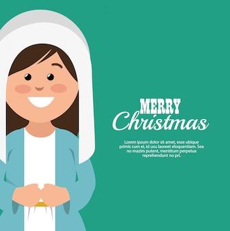 Feliz navidad tarjeta con virgen maría sonriendo