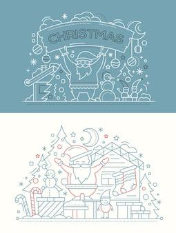 Feliz navidad - tarjetas de línea