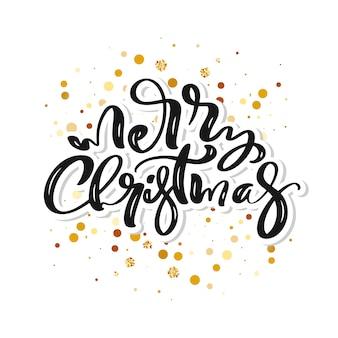 Feliz navidad texto caligráfico escrito a mano y marco con confeti dorado