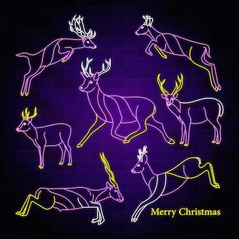 Feliz navidad texto de tipografía de neón con diseño de vector de ilustración de ciervo saltando