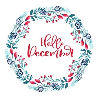 Feliz navidad texto vintage caligráfico escandinavo. corona de invierno