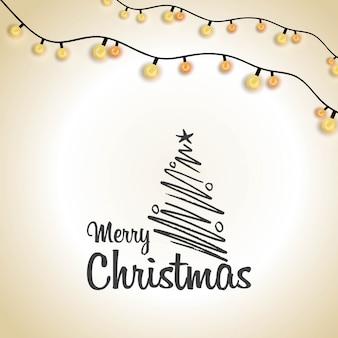 Feliz navidad tipografía creativa iluminando fondo