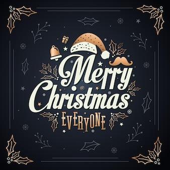 Feliz navidad a todos invitación tarjeta de felicitación con tipografía, copos de nieve