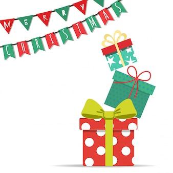 Feliz navidad con torre de cajas de regalo y bandera de fiesta.