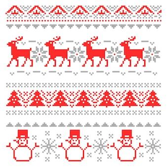 Feliz navidad tradicional escandinavo tejer bordes de píxeles con renos y árbol de navidad. ilustración