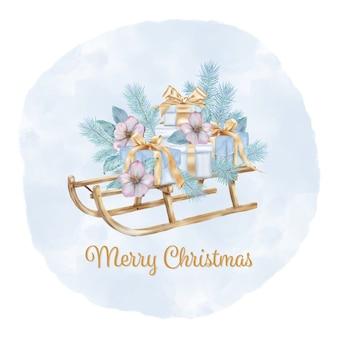 Feliz navidad trineo con ramas de pino y cajas de regalo