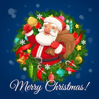 Feliz navidad vacaciones de invierno saludo deseo, santa con bolsa de regalos y campana dorada en corona de árbol de navidad. bolas de decoración navideña, piñas y copos de nieve, estrellas doradas y bastón de caramelo