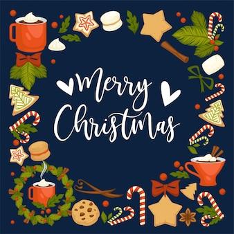Feliz navidad vacaciones de invierno simbólicas.