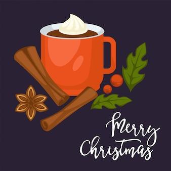 Feliz navidad vacaciones de invierno, taza con bebida