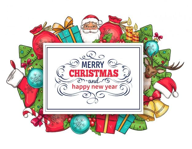 Feliz navidad vacaciones tarjeta de felicitación