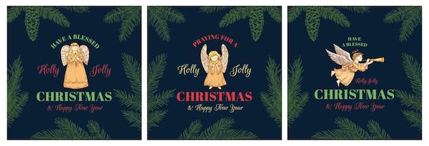 Feliz navidad vector abstracto etiquetas retro letreros o plantillas de logotipo conjunto colorido dibujado a mano orando ...