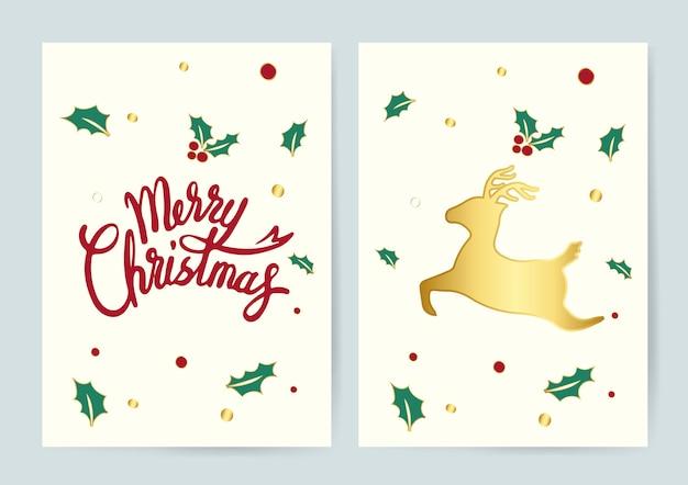 Feliz navidad y un vector de cartas de reno.